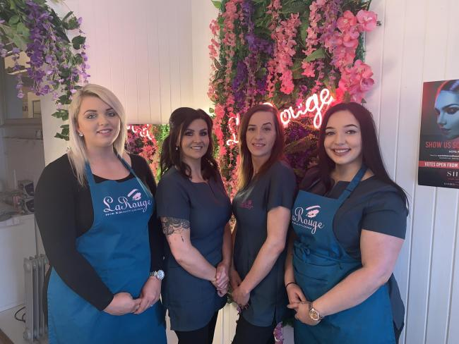 Lynsey Robertson (second from left) and La Rouge are finalists in the 2019 Scottish Hair and Beauty Awards