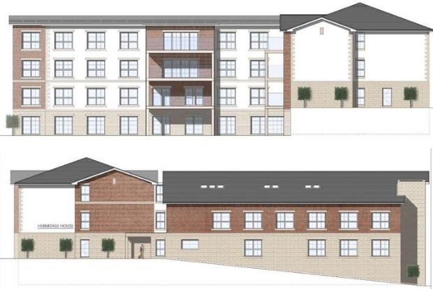 Plans showing the south-east (top) and north-west elevations of the proposed new care home next to Hermitage Park