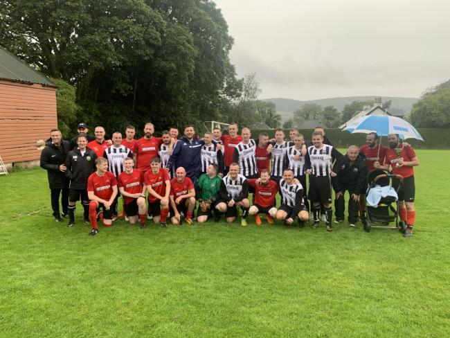 The Rhu and Helensburgh squads pictured after Saturday's pre-season friendly at Ardenconnel Park