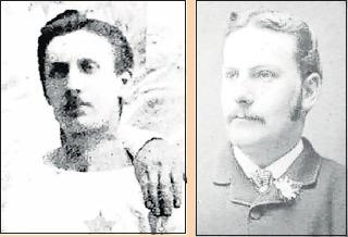 The only known picture of Peter Campbell, left, from the 1877 Scottish Cup Final team, and Peter McNeil (right)