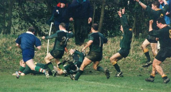 Robbie Price dives over for a try in a memorable meeting between Helensburgh and Forrester in 1998 that saw the Ardencaple side crowned then National League Six champions