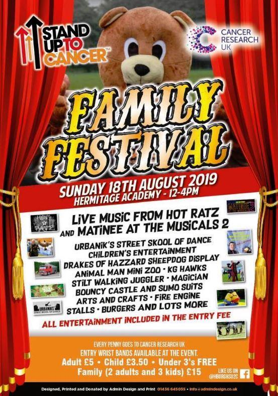 Helensburgh's Stand Up To Cancer family festival is on Sunday, August 18 at Hermitage Academy