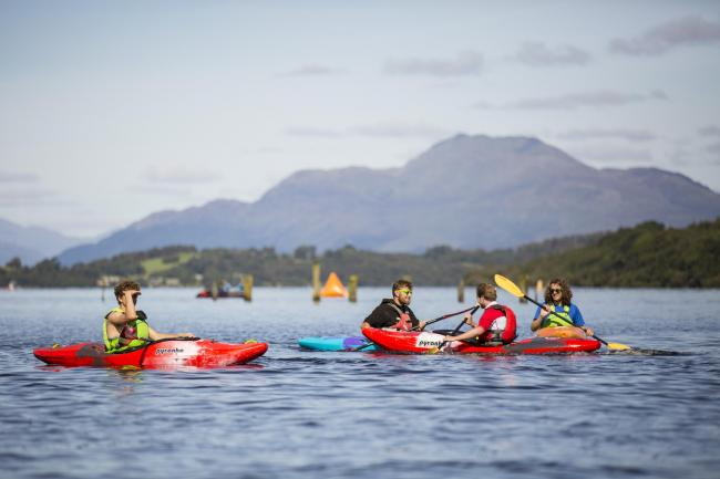 Kayakers at the recent Go Swim event on Loch Lomond