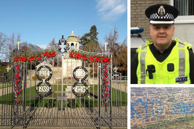 Inspector Roddy MacNeill has urged the public to help police track down those responsible for graffiti sprayed on a wall next to Helensburgh's war memorial