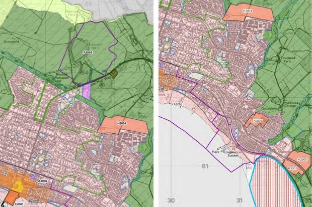 Two of the proposal maps for Helensburgh which form part of Argyll and Bute Council's 'Local Development Plan 2' consultation