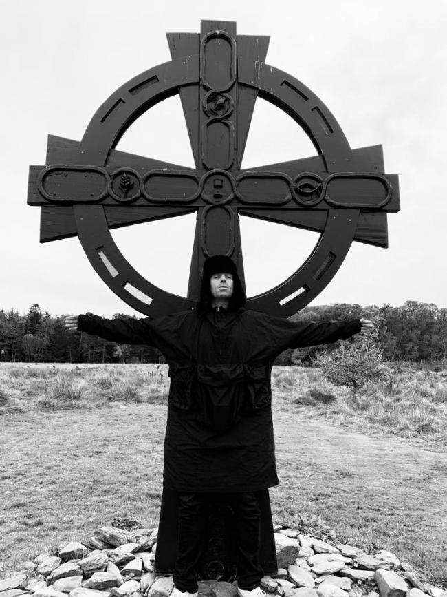 Liam Gallagher visited the St Kessog Memorial Cross in Luss on Saturday
