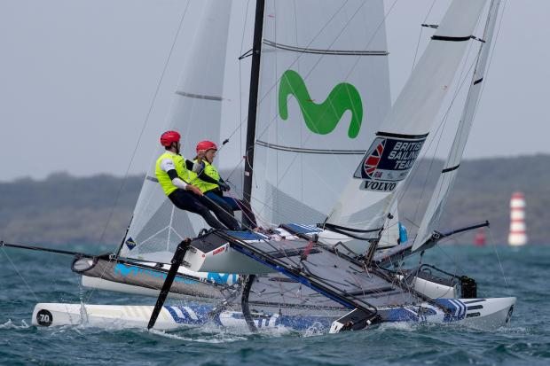 Anna Burnet and John Gimson in action in the Nacra 17 World Championships in Auckland (Photo - Matias Capizzano)