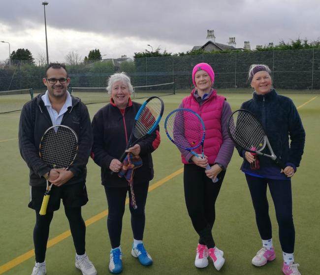 Helensburgh 'Hangover Tournament' finalists Stephen Lewis, Ann McKelvie, Cathy Court, and Fiona MacLaren