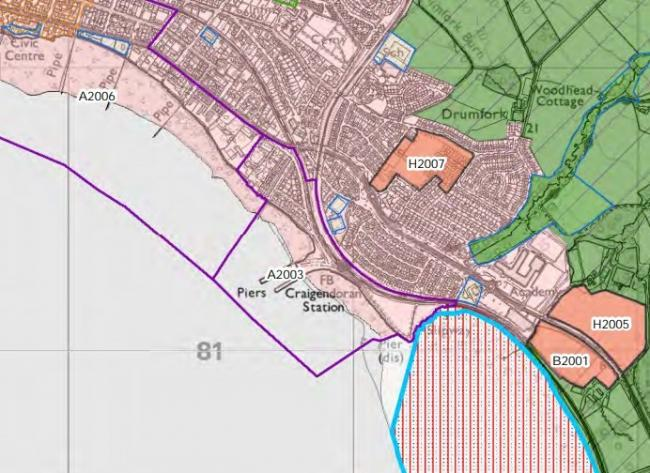 The development site is marked 'B2001' on this map, which forms part of Argyll and Bute Council's consultation on its 'Local Development Plan 2' proposals