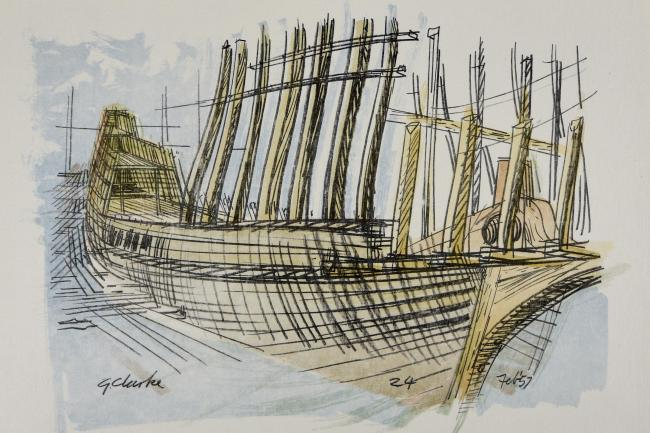 A drawing of the Mayflower II by George Clarke, which will be on display as part of a major exhibition