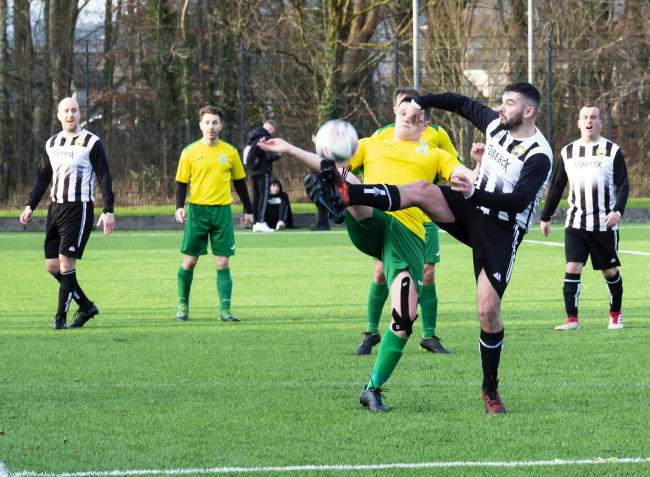 Helensburgh's disappointing run of results this season included this 2-0 loss at home to St Patrick's FP's second team on January 18 (Photo - Tom Watt)