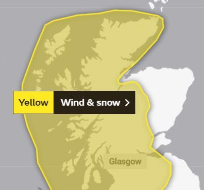 The yellow weather warning for Monday and Tuesday next week covers large parts of Scotland
