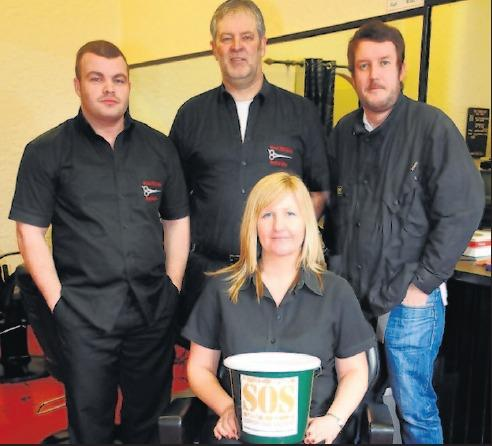 Greg is pictured, centre, with staff members PeterBrown, Scott Angus and Mairi Stevenson. Joanne turner is absent from the picture