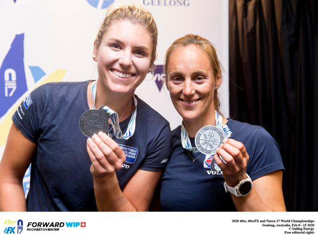 Charlotte Dobson (right) and her 49er FX sailing partner Saskia Tidey won silver at the World Championships in Geelong, Australia in February of this year (Photo - Pedro Martinez/Sailing Energy)