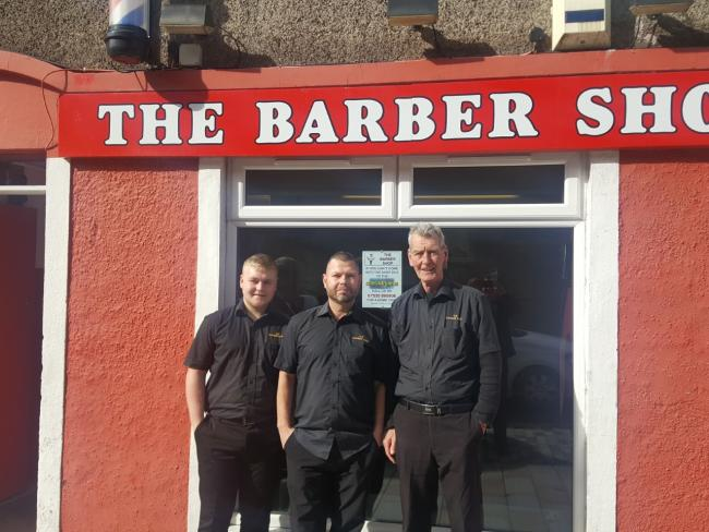Cameron, Willie and Billy at The Barber Shop in Helensburgh's Sinclair Street