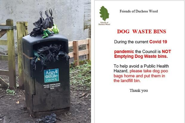 Posters have been put up by the Friends of Duchess Wood asking dog owners to take their pets' waste home with them rather than dropping it in a poo bin, because of coronavirus service cutbacks