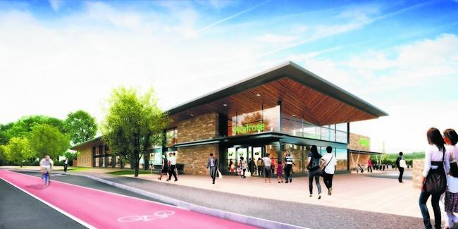 A computer-generated image of Waitrose's Helensburgh supermarket, produced as part of the company's early proposals for a store in the town