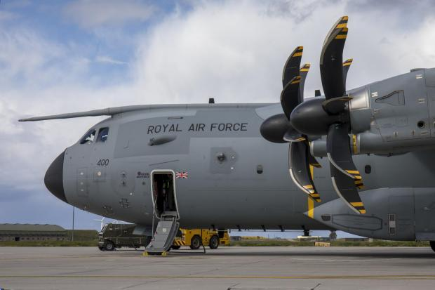 Helensburgh Advertiser: This is an Airbus A400M Atlas, the type of airfact seen over Glasgow in recent weeks (Image: RAF)