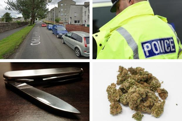 Police charged a 34-year-old man with possession of drugs and a knife following a search in Old Luss Road