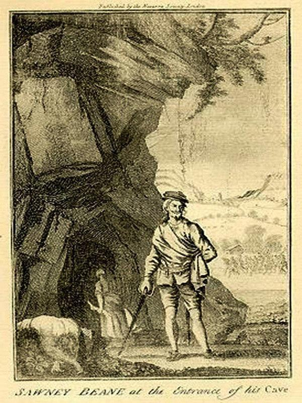 Helensburgh Advertiser: An illustration of Sawney Bean outside his cave