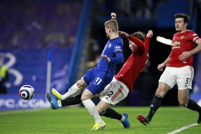 Chelsea and Manchester United players in action