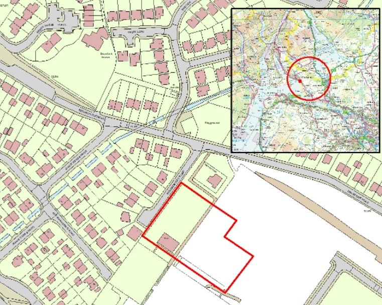 The development site is the left-hand part of the area outlined in red above