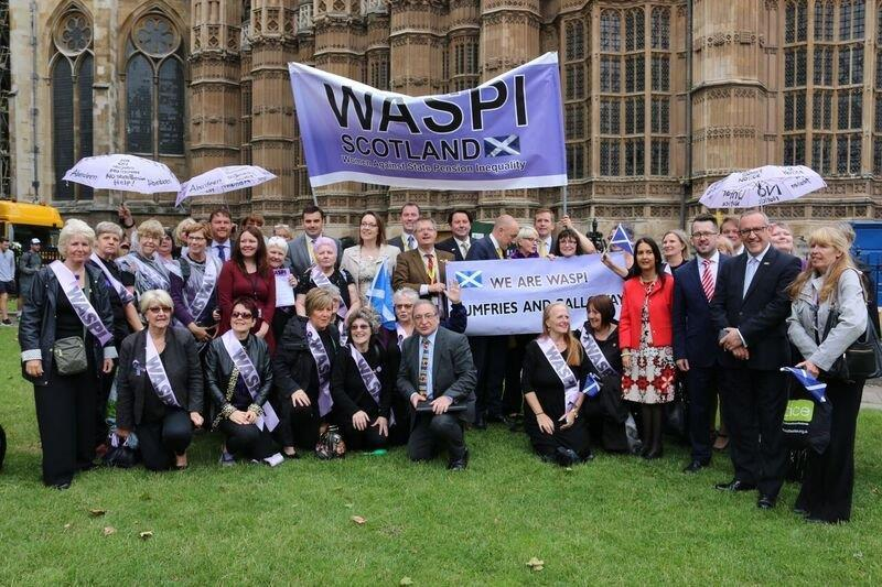 Scottish WASPI campaigners pictured outside the Houses of Parliament