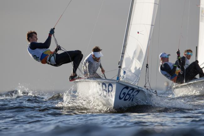 Luke Patience and Chris Grube in action Credit: Richard Langdon/ British Sailing Team