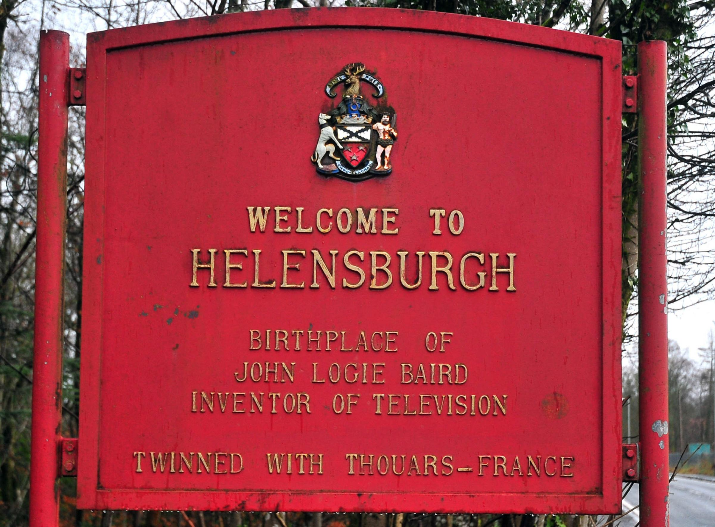One of Helensburgh's welcome signs proclaiming the link with Thouars