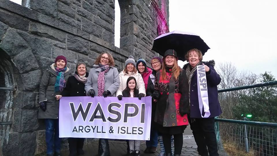 Ann Greer (second right) with fellow WASPI campaigners at McCaig's Tower in Oban
