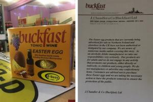 The egg in question, left, and the statement from Buckfast, right (Credit: D-Bees Lurgan & Stewart Wilson)