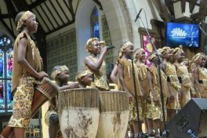 A shot of the African Children Choir in full flow at Helensburgh church
