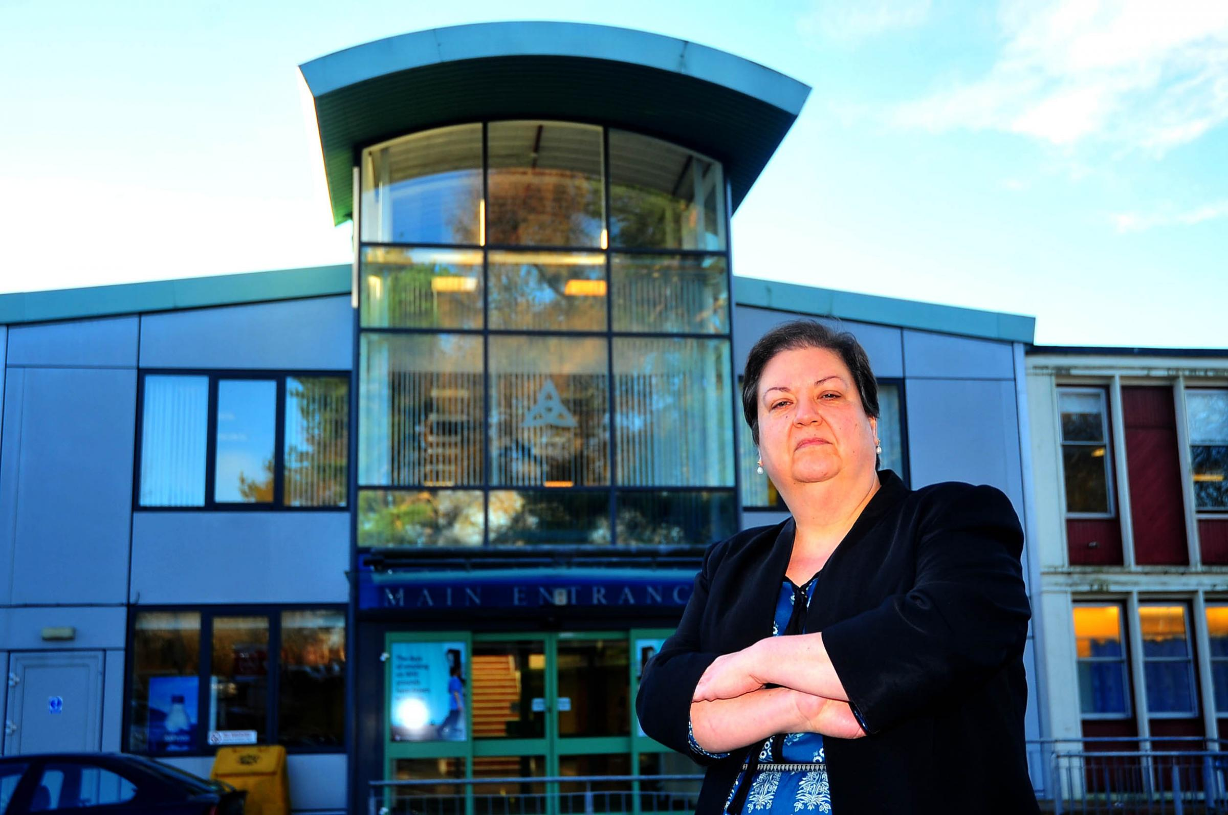 Jackie Baillie MSP outside the Vale of Leven Hospital