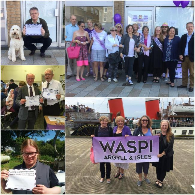 WASPI campaigners and their SNP, Lib Dem and Labour supporters in Helensburgh and across Argyll and Bute