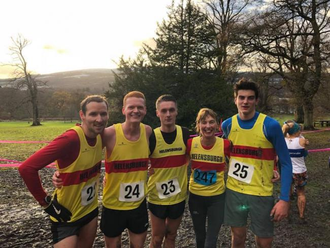 Helensburgh AAC's bronze medal winning senior men's team at the Dunbartonshire Championships  in Balloch Park on Saturday 25th November. L-R: Stu Scott, Josh Crowther, Jason Bell, Jan Fellowes [2nd Over 60 Female]  and Cameron Kemp [2nd Under 20 Male]
