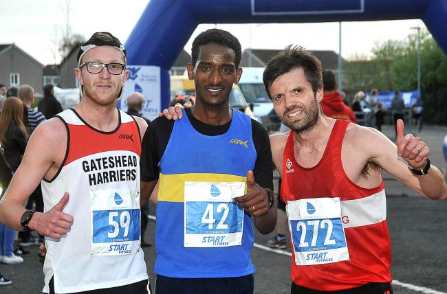 The top three finishers in last year's Babcock Helensburgh 10K - L-R Daniel Johnson (3rd), winner Wayney Ghebresilassie, and runner-up Iain Reid