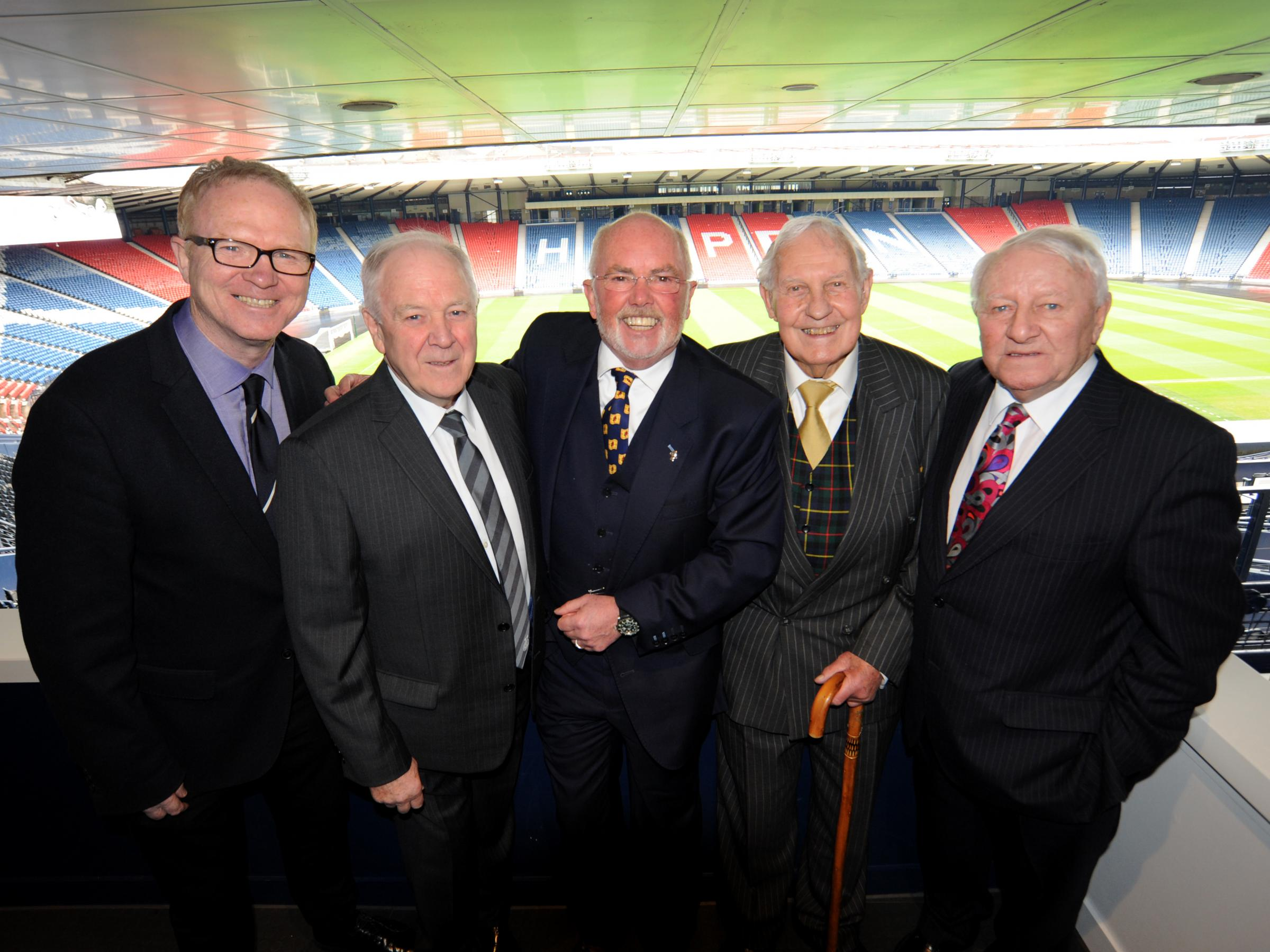 Alex McLeish, Craig Brown, pundit Chick Young, Bobbby Brown and Tommy Docherty at the Hampden lunch in Bobby's honour (Pic - Variety Scotland)