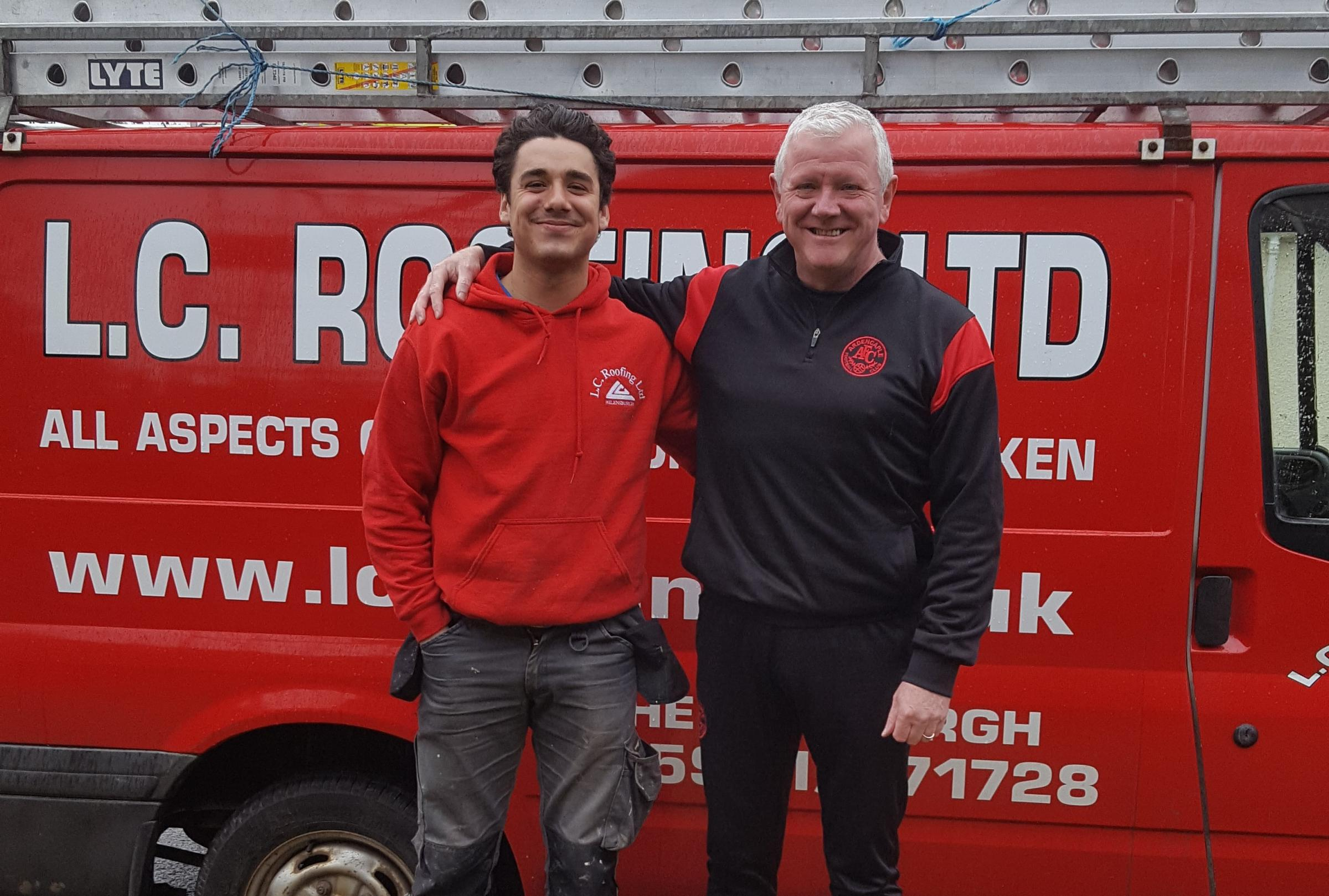 Ardencaple FC's new men's amateur team is being set up with financial backing from the club's long-term supporter, LC Roofing. Pictured are LC Roofing's Mikey Hopkins, currently playing for Albion Rovers, and Caple chairman Craig Holborn