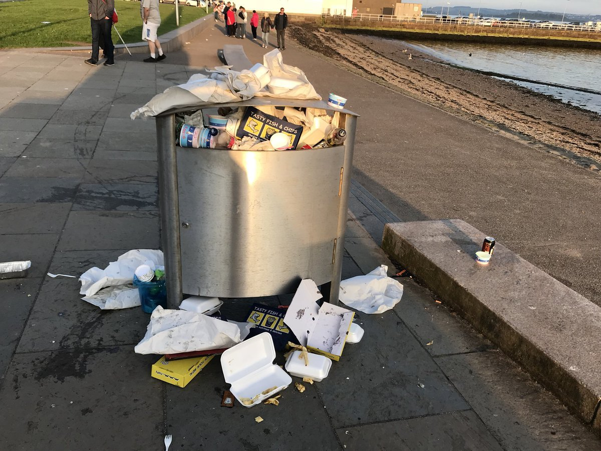 Bins along the seafront were left overflowing