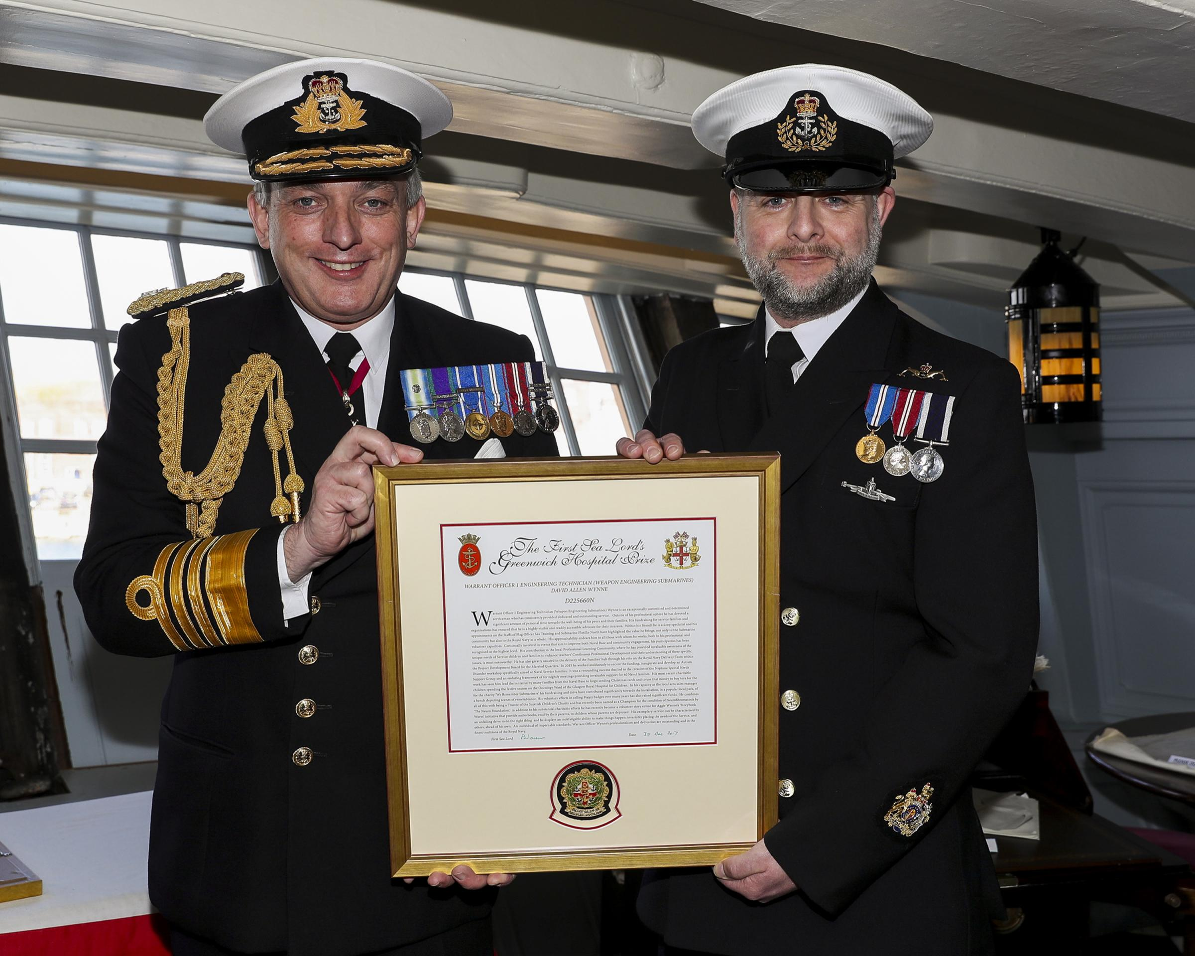 The First Sea Lord, Admiral Sir Philip Jones KCB ADC, with Warrant Officer First Class David Wynne. Picture: Leading Photographer Barry Swainsbury