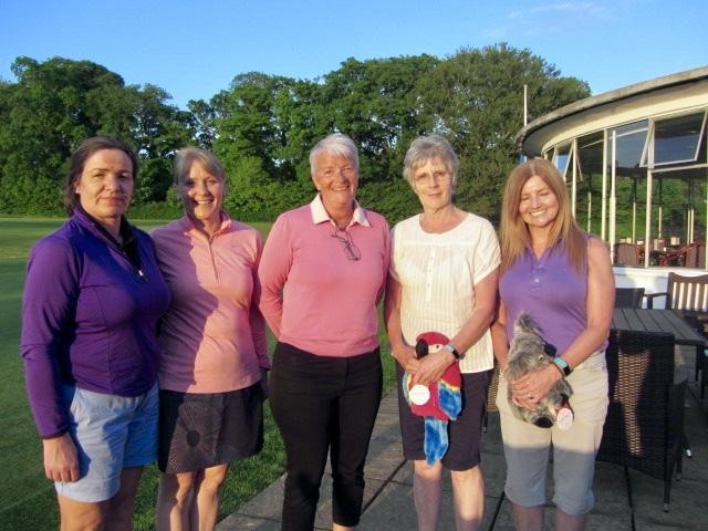 L-R: winners Lynne McDonald and Lynne McNeil, Cardross ladies' captain Vicky Hendren, and runners-up Sheila Gardiner and June Haggerty