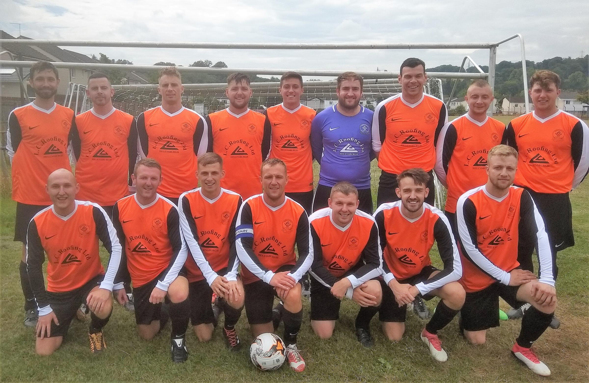 Ardencaple FC's new adult side line up for their first ever fixture - a 1-0 pre-season friendly win against Viewfield Rovers in Lochwinnoch on Saturday