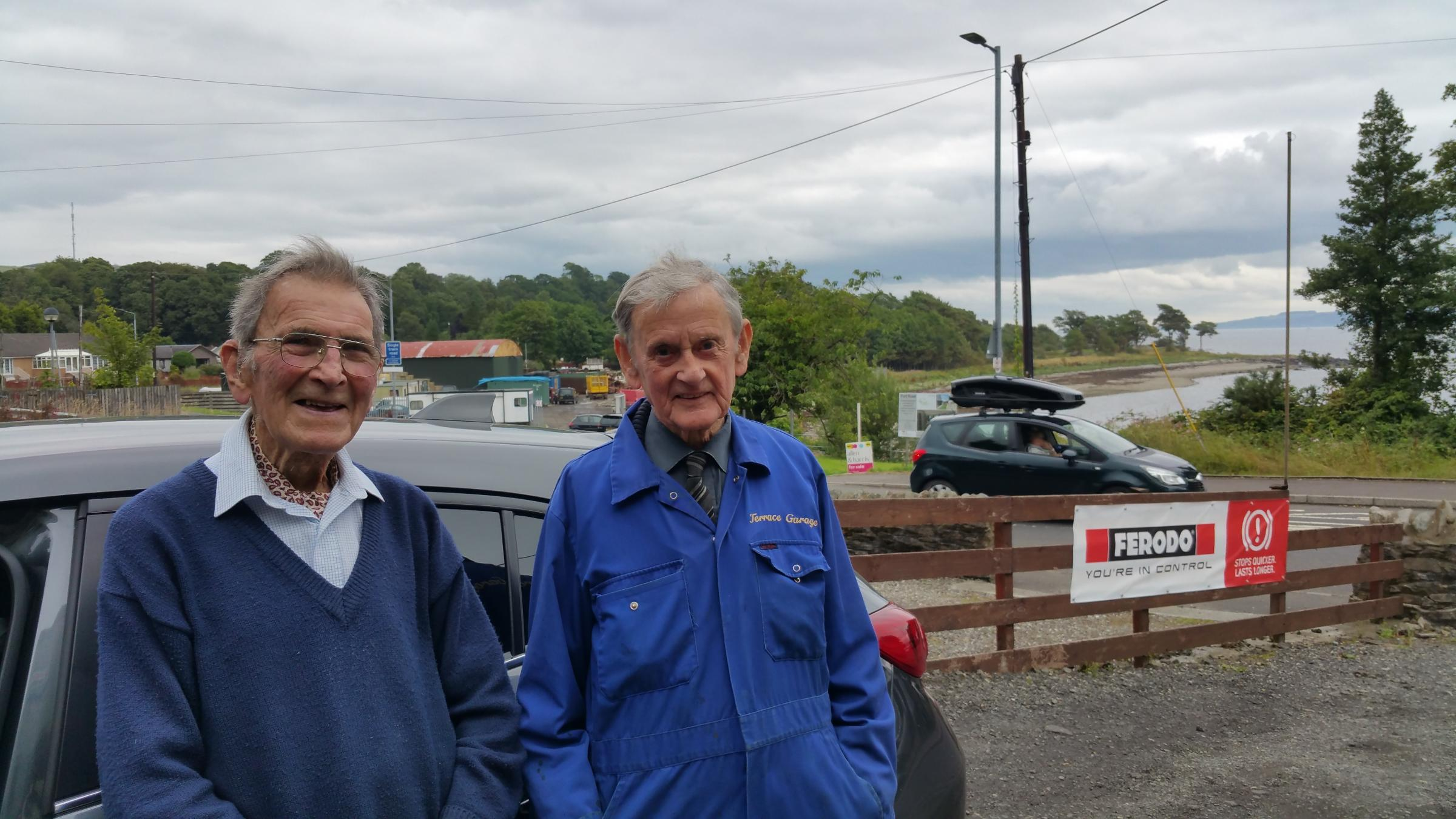 Alex Spence, left, pictured in Kilcreggan with weel-kent village resident, 93-year-old Tom McNeilage (Pic - David Maxwell)