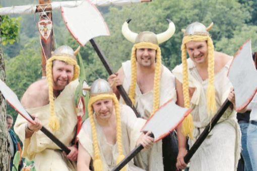 Some adults dressed up as Vikings on the day