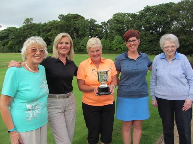 Noreen Harper and Pat Hargan with the winners – Mandy Allan, Adrienne MacLagan, and Davina Lavery