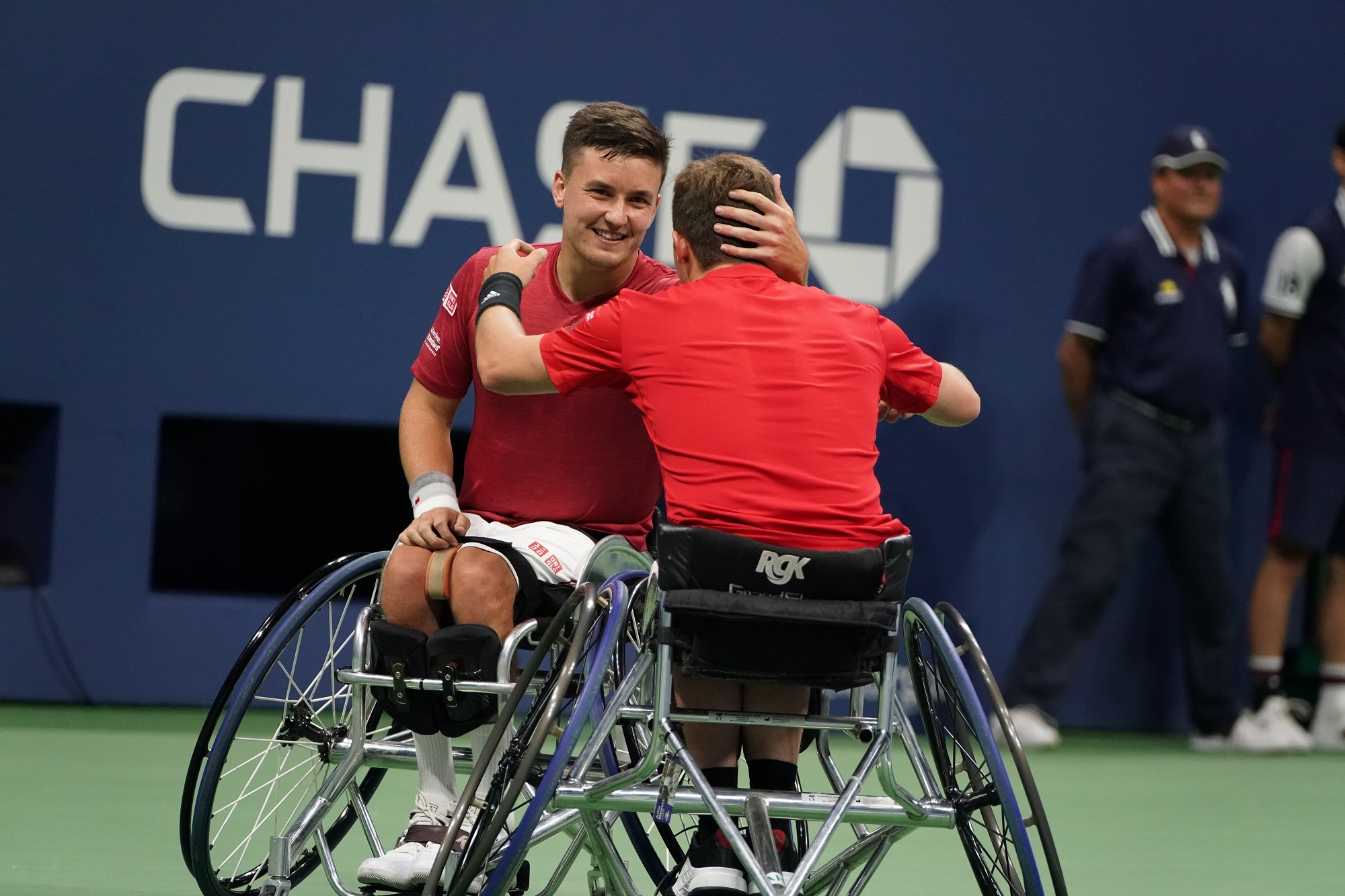 Gordon Reid and Alfie Hewett celebrate their US Open doubles triumph (Pic - Tennis Foundation)