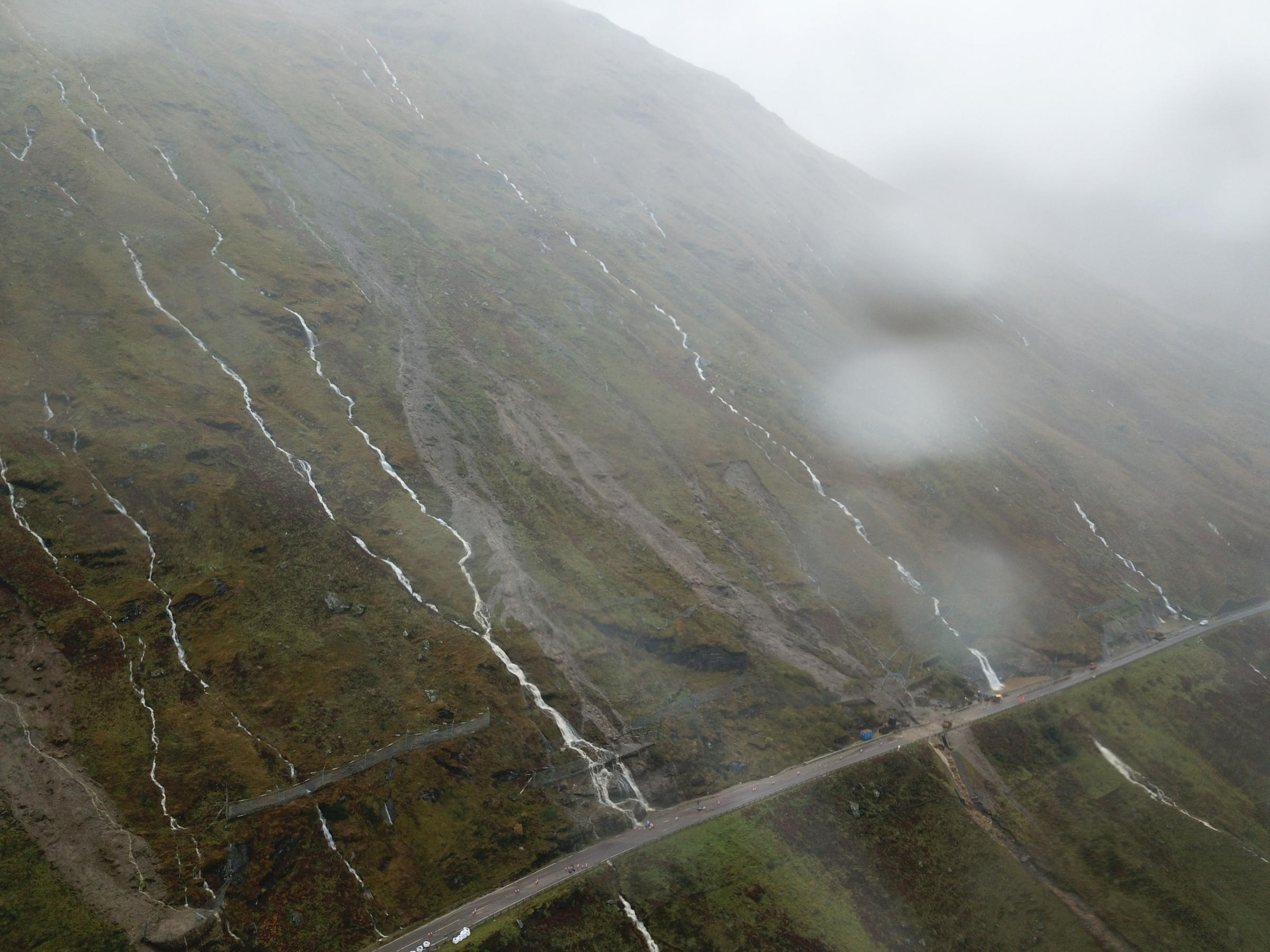 Undated handout photo issued by Geo-Rope of a landslip on the A83 Rest And Be Thankful road in Argyll and Bute which remains shut due to severe severe weather causing numerous landslips. PRESS ASSOCIATION Photo. Issue date: Wednesday October 10, 2018. Roa