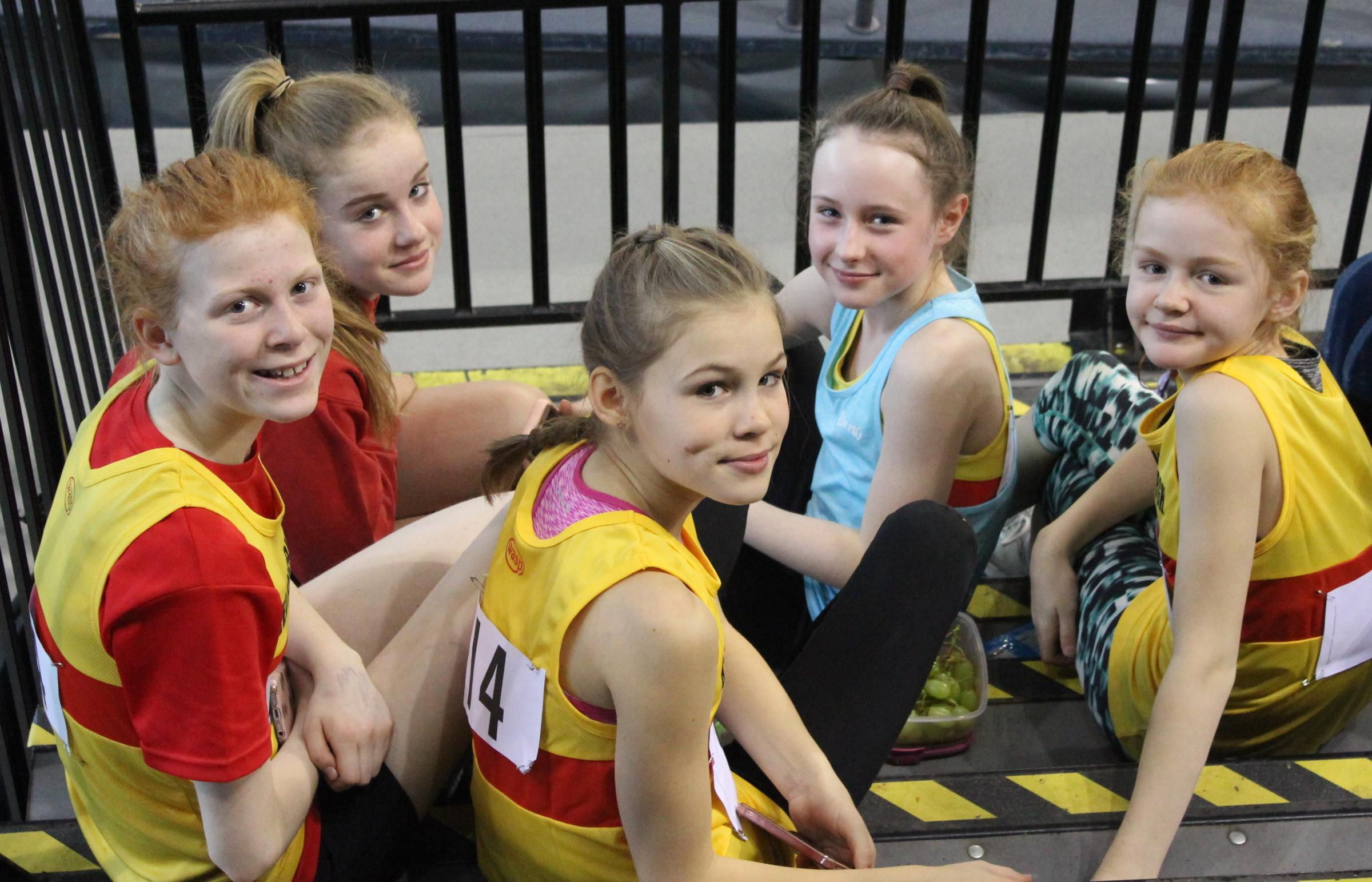 Some of the young Helensburgh AAC competitors who took part in the first Scottish Athletics Indoor League match of the 2018-19 season