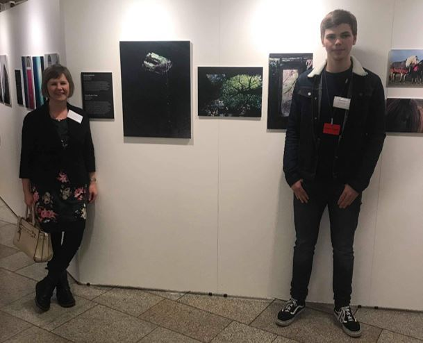 Lomond School art teacher Lynne Jack pictured at the Scottish Parliament exhibition with former pupil Beni Ray