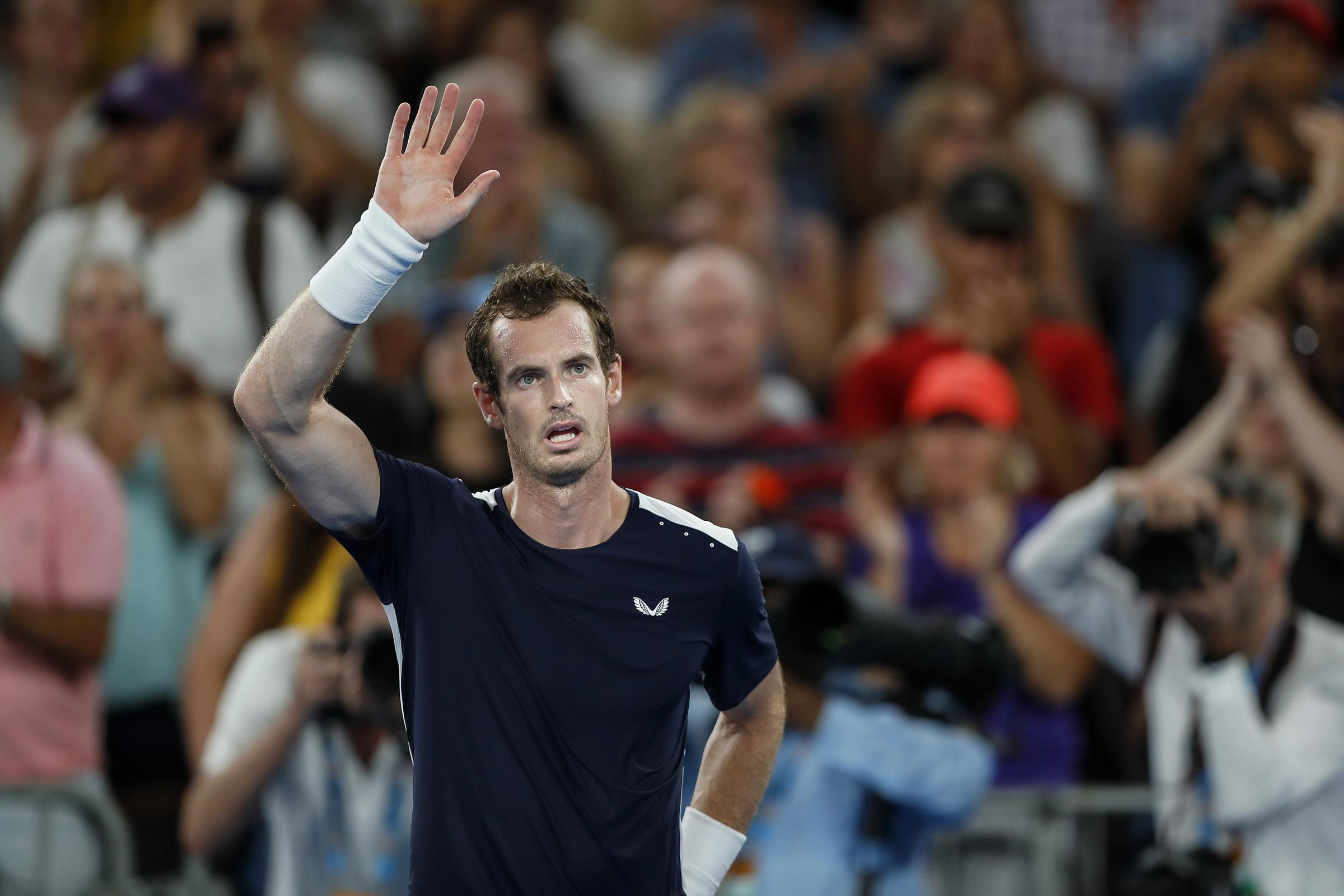 Andy Murray waves to the Melbourne crowd after his Australian Open exit (Photo by Fred Lee/Getty Images)